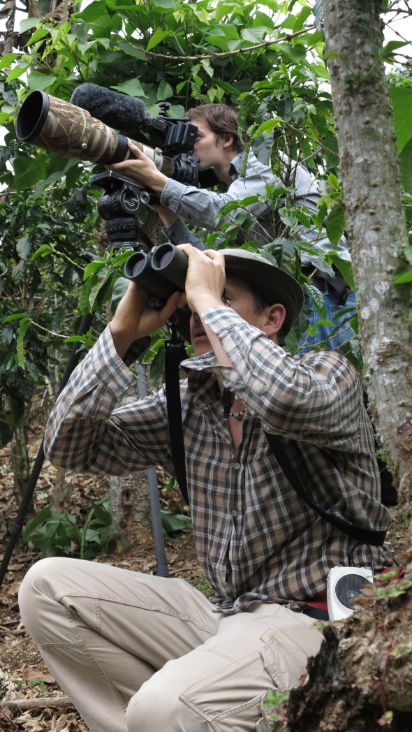 Joshua See cinematographer, with bird guide Ernesto Carman. Filming at  Café Christina coffee farm in Costa Rica