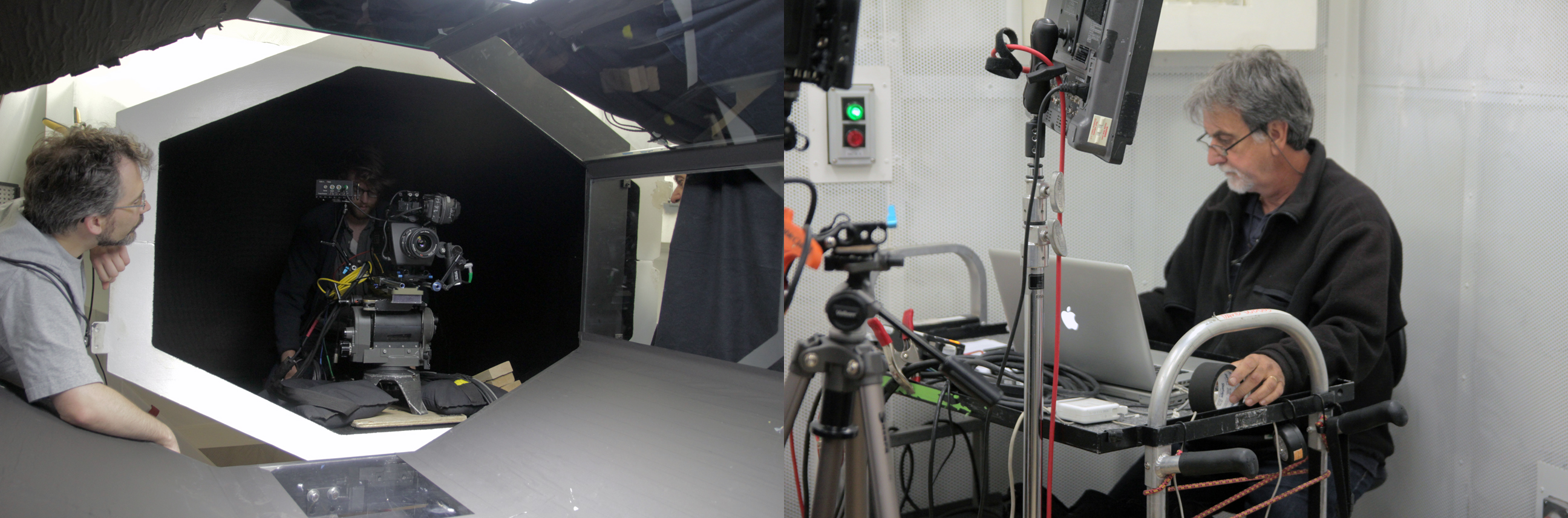 The Messenger camera is set inside the wind tunnel, while outside, technician Marty Carriero prepares to record the files from the Phantom Camera.