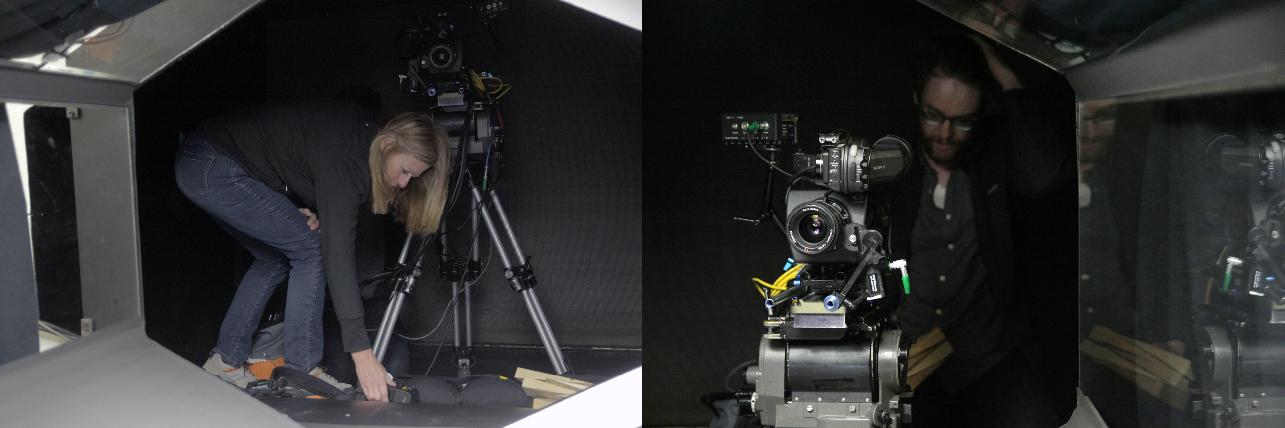 Camera Assistant Lori Longstaff and cinematographer Daniel Grant filming with Phantom camera inside the wind tunnel at AFAR